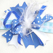 Hair Bow / Clip - Pretty Blue Aqua & White - Colorful and Fun Hair Bow - New Photo
