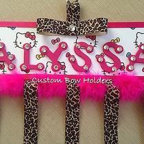 Hair Bow Holder - Leopard Hello Kitty - Any Name Photo