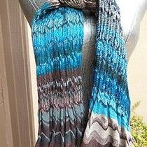 Hale Bob Blue Brown Missoni Ruched Scarf New Photo