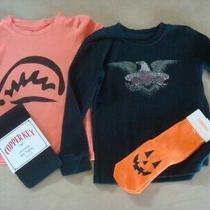 Halloween Lucky Black Ls Top & Gap Orange Pumpkin Ss top& Nwt Black Tights- Sz 2 Photo