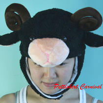Halloween Xmas Birthday Fancy Black Goat Sheep Wool Party Warm Costume Hat Mask Photo