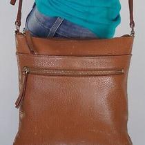 Halogen Medium Brown Leather Crossbody Shoulder Hobo Tote Satchel Purse Bag Photo
