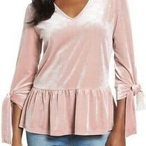 Halogen Nordstrom Tie Sleeve Velvet Top Peplum Blouse v-Neck Blush Pink Size Xl Photo