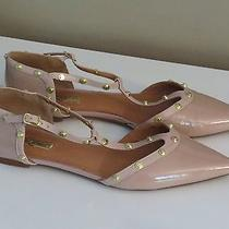 Halogen Olson Studded Pointed Toe Flats Patent Leather Blush Nude Barely Pink 9 Photo