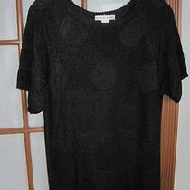 Halston Black Short Sleeve Sweater Size M Photo