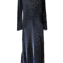 Halston Dress Formal Formal Gown 10 Black Heavy Metal Beading  Photo