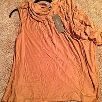 Halston Heritage Cupro Draped Cowl Neck Top Large Rust 295 Msrp Wci0100117 Photo