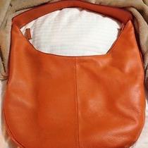 Halston Heritage Genuine Leather Orange Hobo W/ Side Zipper Detail and Dust Bag Photo