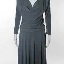 Halston Heritage Gray Long Sleeve Drop Waist Knee Length Dress Sz 2 Photo
