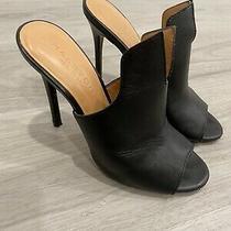 Halston Heritage Heels Carmen Slit Stiletto Size 6 Black Leather Photo