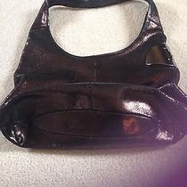 Halston Heritage Pomegranate Bronze Leather Sack Hobo Bag Purse Silver Hinge Photo
