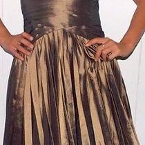 Halston Heritage Strapless Metallic Iridescent Taffeta Cocktail Dress Size 0  Photo