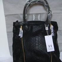 Halston Heritage  Valerie Tote Lamb Leather  Hand Bag Hobo - Black Photo