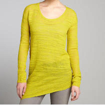 Halston Heritage Wool Blend Chartreuse Asymmetrical Sweater Large Sot0990240 Photo