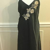 Halston Petite Pm Medium Black Satin Slip Dress Floral Embroidered Photo