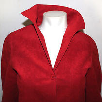 Halston Vintage Red Ultasuede Holiday Blazer Jacket  Photo