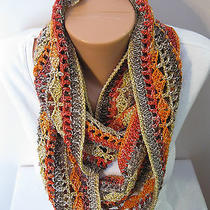 Hand Crocheted Eternity Infinity Scarf the Color Is Volcano  Gorgeous   Photo