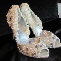 Hand Decorated Wedding/prom Shoes-Pearls-Charms-Rhinestones-Swarovski-Size 8 1/2 Photo