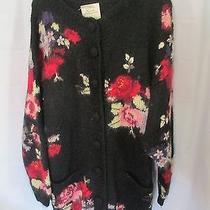 Hand Knitted International Express 50% Mohair Sweater Floral Cardigan Medium Photo