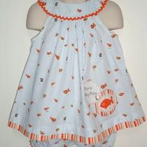 Hand-Made Heather Ross Goldfish Fabric Girls Dress & Bloomer Set - 2t - Munki  Photo