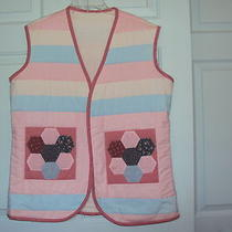 Hand Made Quilted Vest Size Large Pink & Aqua Photo