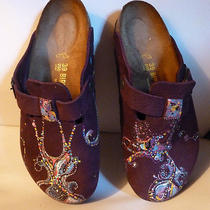 Hand Painted Boston Birkenstocks Germany Size 39 Regular Burgandy Photo