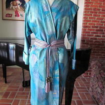 Hand Painted Kimono Coatosfmwearable Artturquoise Lavender Aqua Teal Gold Photo