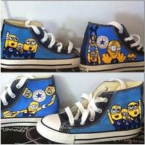 Hand Painted Minions Themed Hi Top Converse Photo