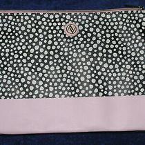 Handbag Adrienne Vittadini Envelope Clutch Purse Zip Black White Dots Blush Pink Photo