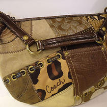 Handbag Coach 13003 Brown & Gold Tonal Patchwork Hobo Handbag Photo