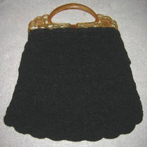 Handbag Crochet Vintage 60s Carved Flower Fancy Carved Top Handle Purse  Retro Photo
