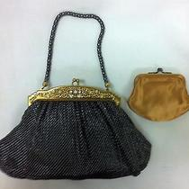 Handbag Whiting & Davis Charcoal Black Diamond Mesh Gold Hinge Top W/rhinestones Photo