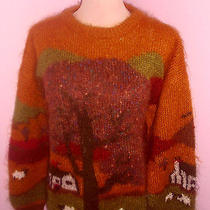 Handknit Vintage Fuzzy Melbourne Elements Sweater Mohair Barn Tree Lamb Sheep S Photo