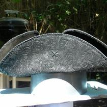 Handmade 100% Leather Tricorn Pirate Colonial Hat Fancy Etched Floral  Pattern  Photo