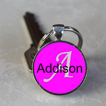 Handmade Addison Name Monogram Glass Dome Keychain (Gdnkc0010) Photo