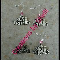 Handmade Best Friends Bff Sisters Set of 2 Charm Earrings (Choose Bead Colors) Photo