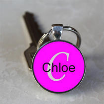 Handmade Chloe Name Monogram Glass Dome Keychain (Gdnkc0563) Photo