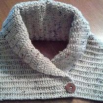 Handmade Crochet Cowl Scarf Dickie Aran Irish Buff Fleck Yarn Women's Med/large  Photo