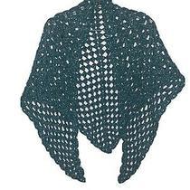 Handmade Crochet Green and Silver Women Ladies Shawl Photo