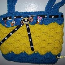 Handmade Crochet Mickey Mouse Purse Polka Dot Ribbon Comes With Liner Photo