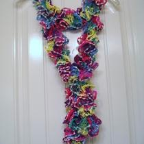 Handmade Crocheted Elegant Ruffle Fashion Scarf - Neon Fancy Photo