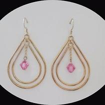 Handmade Dangle Earrings With Lt Rose Swarovski Bi-Cone Crystal Gold Tone E1351 Photo