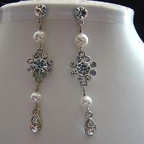 Handmade Earrings Swarovski Pearl Bridal Flower Earrings Party Earrings E3017 Photo