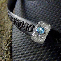 Handmade Flip Flops Ring for Havaianas Slim Marine Blue Swarovski Photo