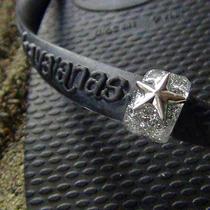 Handmade Flip Flops Ring for Havaianas Slim Silver Star Studs Photo