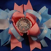 Handmade Hello Kitty Baby Blue Pink & White  Bottle Cap Boutique Style Bow Photo