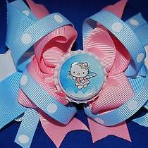 Handmade Hello Kitty Pink & Baby Blue Bottle Cap Boutique Style Bow Photo