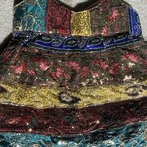 Handmade India Recycled Saree Patchwork Blue Hippie Hobo Boho Shoulder Bag Purse Photo
