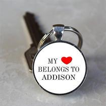 Handmade My Heart Belongs to Addison Name Glass Dome Keychain (Hnkc0010) Photo