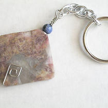 Handmade Natural Stone Keychain  Lilac Jasper Wire Wrapped Ladies Key Ring  Photo
